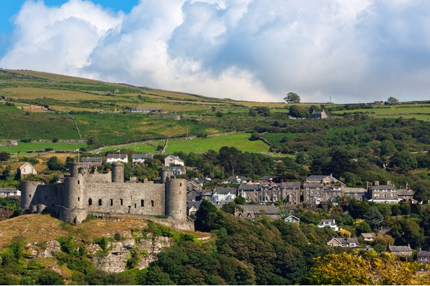 Harlech Castle and the village on the hill, North Wales
