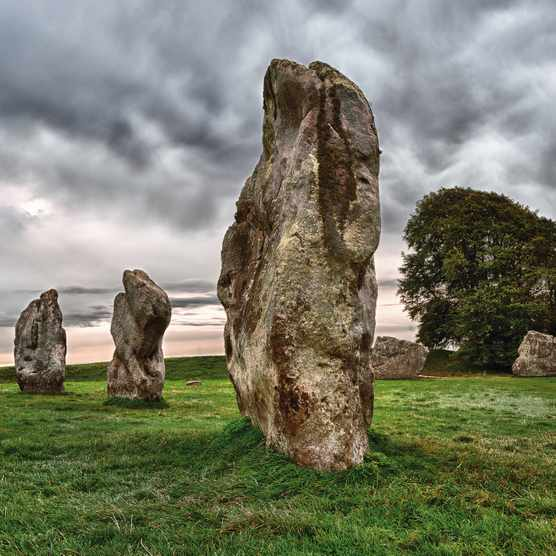 The Avebury Henge Neolithic site in Wiltshire, the largest stone circle in Europe