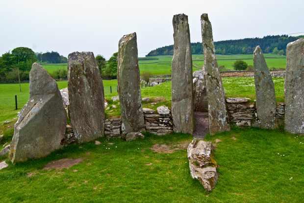 ancient chambered tomb called Cairnholy Stones in Scotland