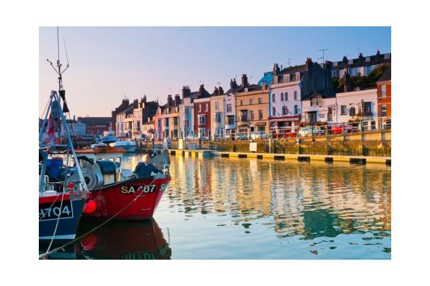 UK, England, Dorset, Jurassic Coast, Weymouth, View of Custom House Quay