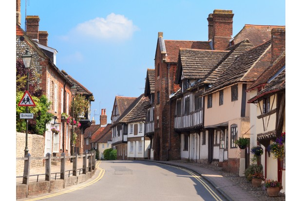 A typical old English village street - Steyning, West Sussex