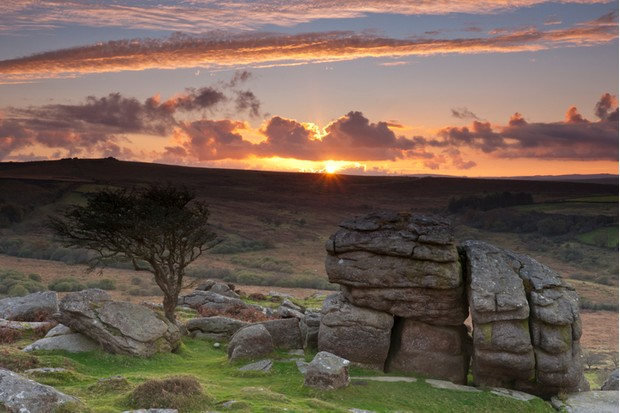 Saddle Tor Dartmoor at sunset in the autumn.