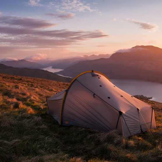 Tent on hillside