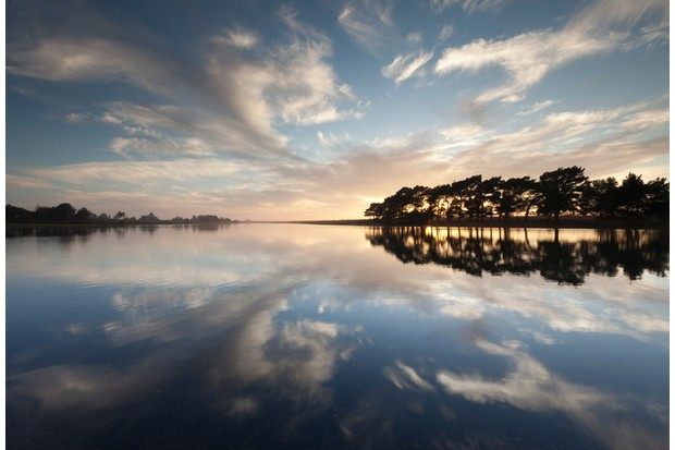 """Clouds and Trees reflected in the still water at Hatchet Pond, New Forest National Park, UK"""