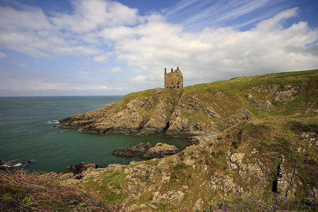 Situated on a rocky headland near Portpatrick is Dunskey Castle ruins, Dumfries and Galloway, Southwest Scotland, Scotland, United Kingdom. (Photo by: UIG via Getty Images)