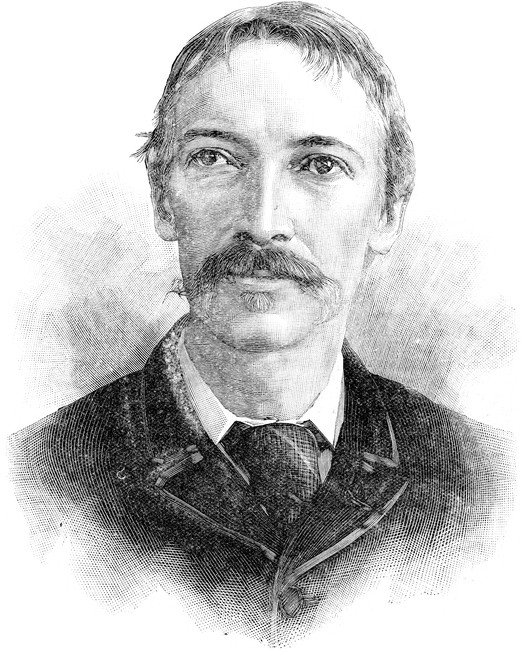 """""""Vintage engraving of Robert Louis Stevenson a Scottish novelist, poet, essayist and travel writer. His most well known books include Treasure Island, Kidnapped and the Strange Case of Dr Jekyll and Mr Hyde."""""""