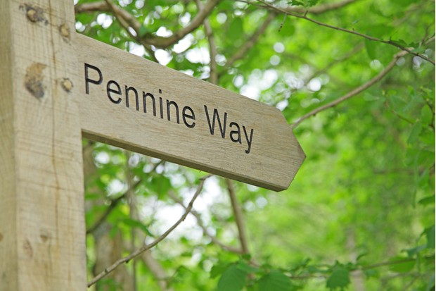 A new wooden post directing travellers to the Pennine Way,Teesdale.
