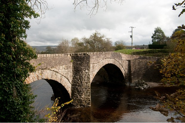 The Grade II listed building that is the 17th Century Millthrop Bridge over the River Rawthey south of the book town of Sedbergh in Cumbria. This bridge is in the Yorkshire Dales National Park.