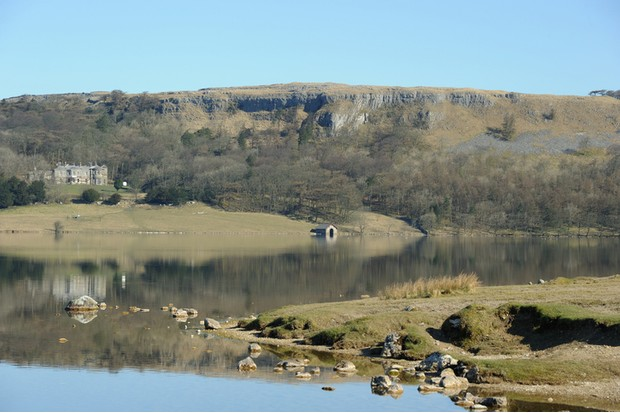 """Malham Tarn, North Yorkshire, on a calm spring day."""