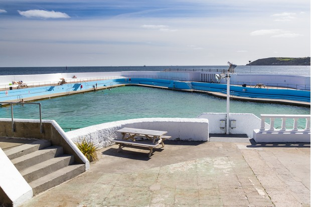 The historic Jubilee Pool Lido Penzance Cornwall England UK