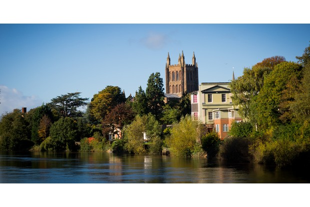 The rising level of the River Wye and the arrival of yellow leaves means only one thing - Autumn descends on Hereford Cathedral