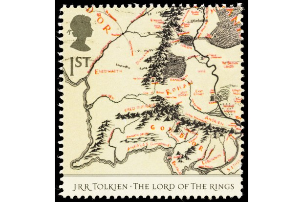 """Sacramento, California, USA - October 14, 2012: A 2004 UK postage stamp with a map of a portion of Middle-earth from the JRR Tolkien book, The Lord of the Rings."""
