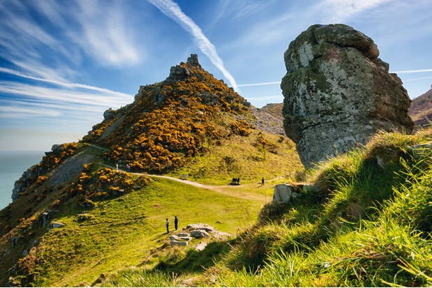 Tourists visiting the Valley Of Rocks in north Devon
