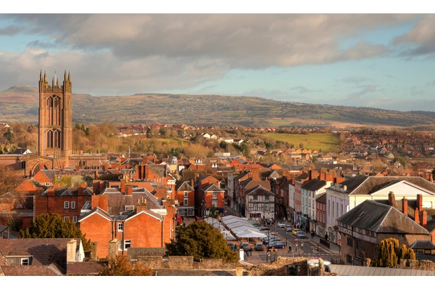 The historic market town of Ludlow, Shropshire, England.