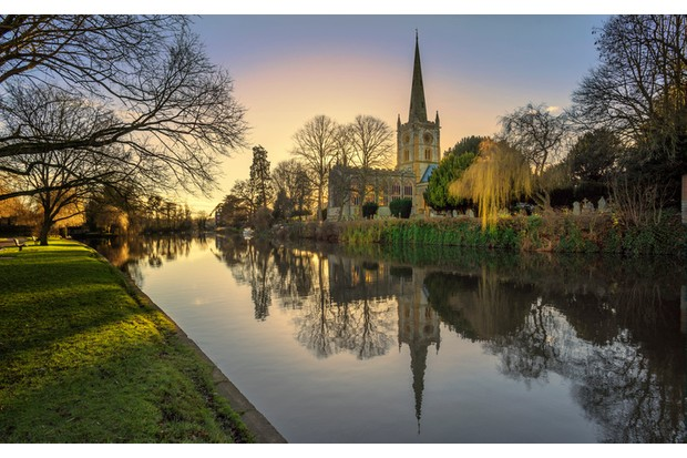 shakespeares burial place holy trinity church stratford-upon-avon  warwickshire the midlands england uk. reflections in the river avon.