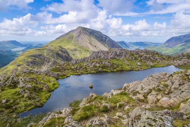The view from Haystacks with High Stile separating Ennerdale and Crummock Waters, The Lake District, Cunbria, England.