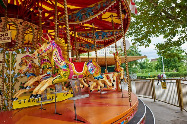 A bristish old-fashioned style carousel in South Bank. London.