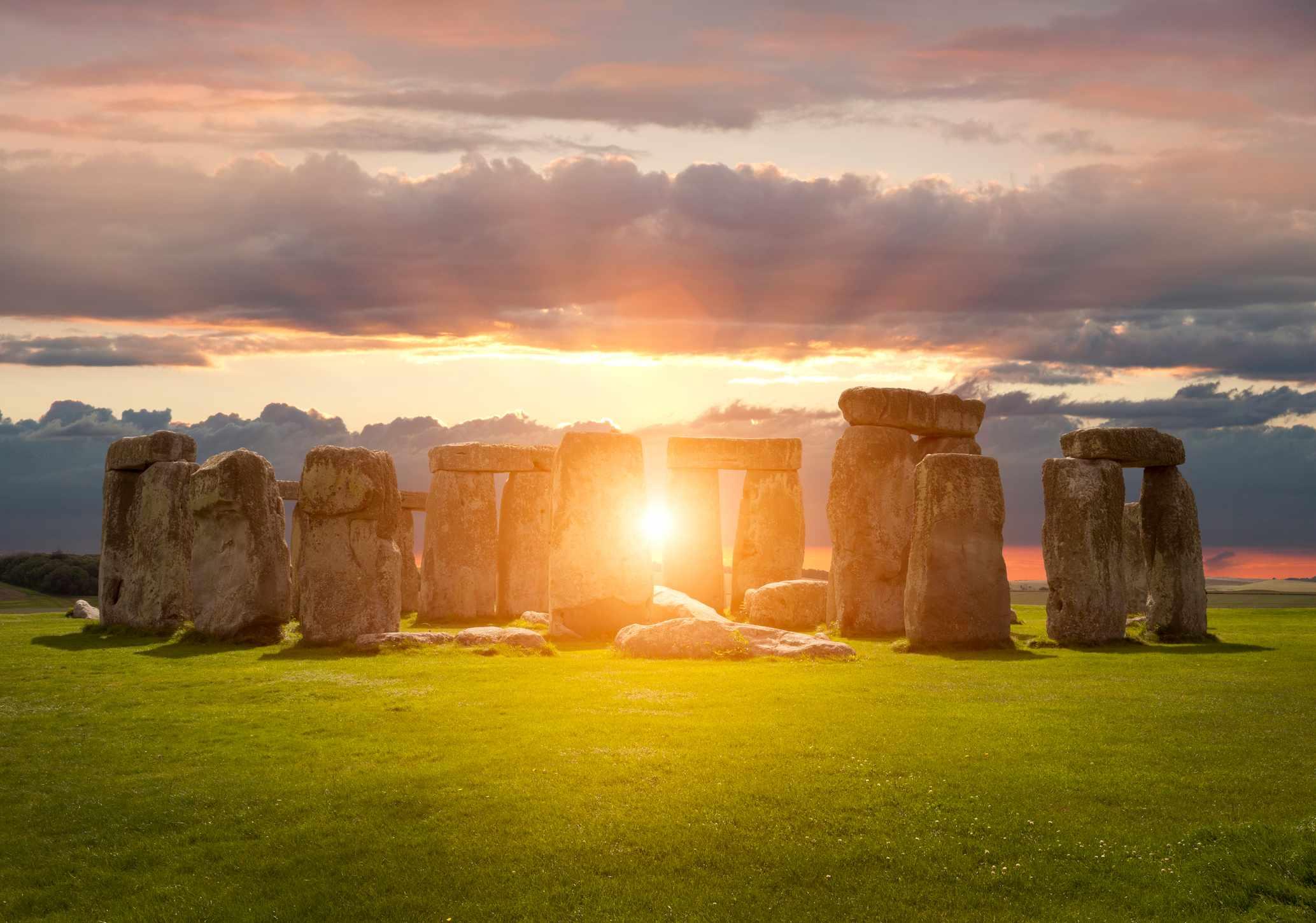 Stonehenge at sunset, Wiltshire, England.