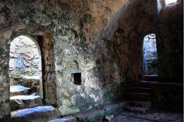The interior of the 14th century St Govan's Chapel, Bosherston, Pembrokeshire, Wales UK