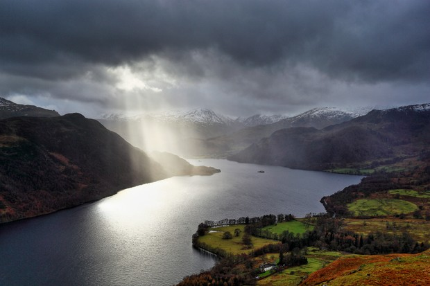 Ullswater in the lake district, England on a stormy evening.