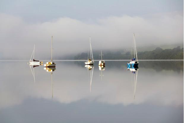 Early morning view across lake Bala, North Wales