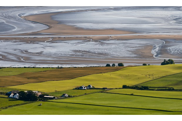 The Solway coast line from The Criffel in Dumfriesshire Scotland.