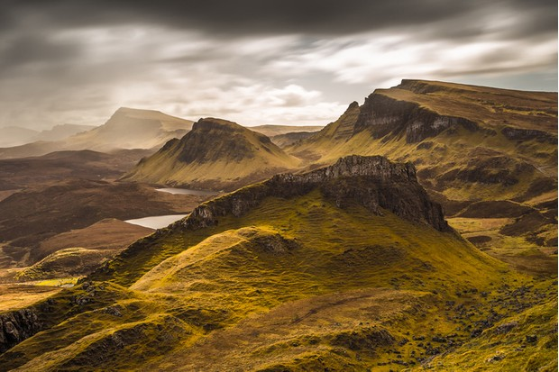 Dark clouds and beautiful colors over the Quiraing on the Isle of Skye in Scotland - UK