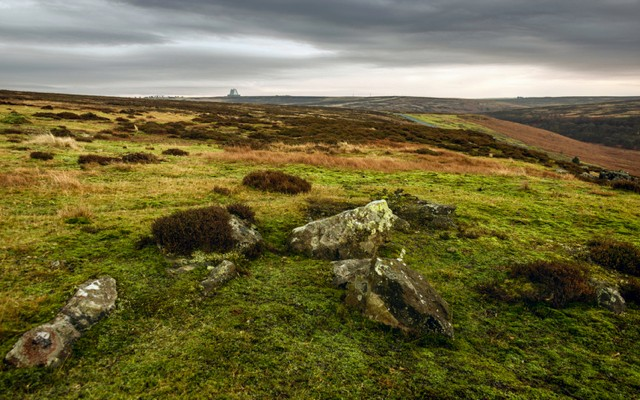 Goathland, Yorkshire, UK. The North York Moors National Park at sunrise in winter with a view of heather, rocks, and moss with RAF Fylingdales on the horizon near Goathland, Yorkshire, UK.