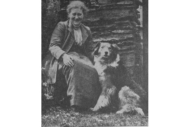 Unidentified clipping of British author/illustrator Beatrix Potter posing outside with herding dog, probably at her home Hill Top. (Photo by Time Life Pictures/Mansell/The LIFE Picture Collection/Getty Images)
