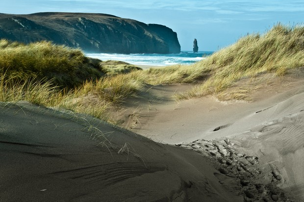 Beautiful sandy beach located in the north of Scotish highlands.