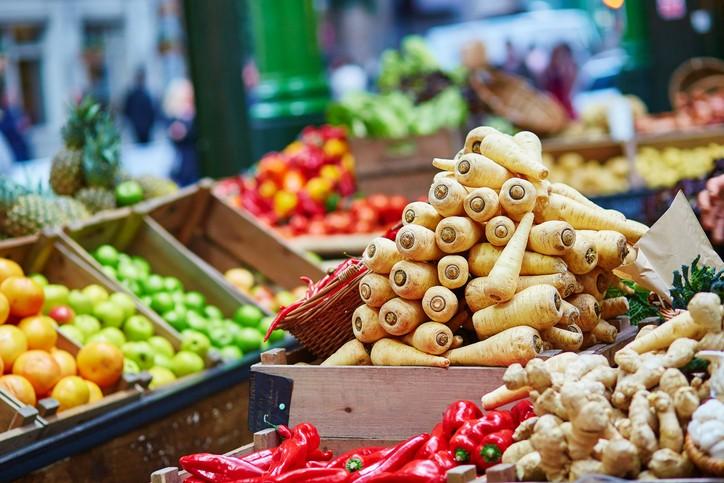 Fresh healthy bio parsnip on London farmer agricultural market
