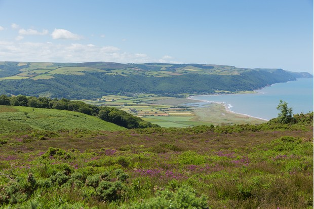 View from Selworthy Beacon to Porlock Bay Somerset UK Exmoor