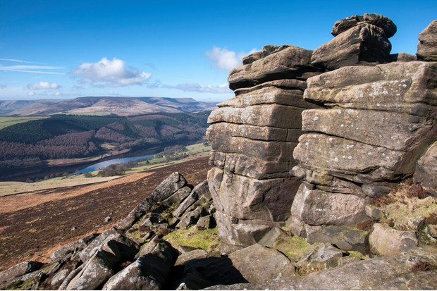 A sunny March day on Derwent edge looking down at Ladybower reservoir. Impressive gritstone rock formations and a far reaching view.
