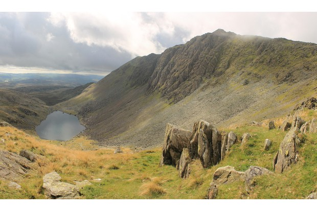 View towards Dow Crag and Goats Water from Coniston in the English Lake District Cumbria.