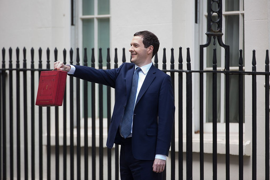 George Osborne, U.K. chancellor of the exchequer, holds the dispatch box containing the budget, as he exits 11 Downing Street in London, U.K., on Wednesday, March 16, 2016. Osborne is set to unveil sweeping education reforms in his Budget on Wednesday as he seeks to sweeten the pill of austerity three months before the referendum on European Union membership. Photographer: Jason Alden/Bloomberg via Getty Images