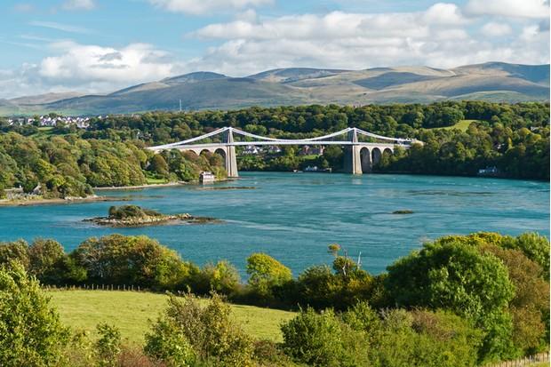 Menai Suspension Bridge Anglesey North Wales Uk