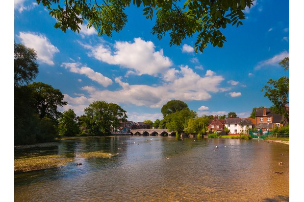 Hot, Sunny day on the River Avon looking towards the bridge arches of Fordingbridge