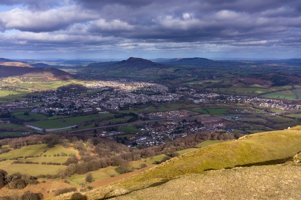 The market town of Abergavenny on the river Usk seen from Blorenge mountain in the Black Mountains, Wales