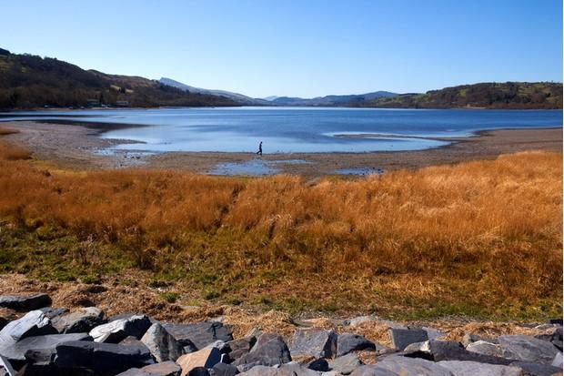 Bala Lake (Llyn Tegid) near the small town of Bala in Gwynedd in Wales in the United Kingdom.