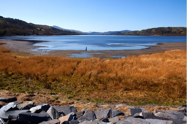 Bala Lake (Llyn Tegid) near the small town of Bala in Gwynedd in Wales in the United Kingdom.