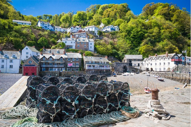 Clovelly harbour Devon England UK beautiful coast village and port