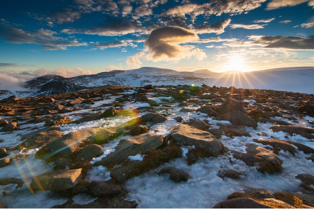 Sunset fast approaching in the Cairngorm Mountains