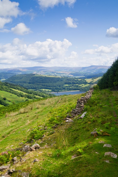 Looking down on the Talybont Reservoir from Allt Lwyd, situated in the Brecon Beacons National Park.