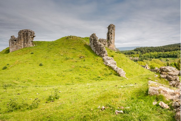 The ruined, medieval Harbottle Castle is situated on a mound in the Coquetdale Valley, Northumberland