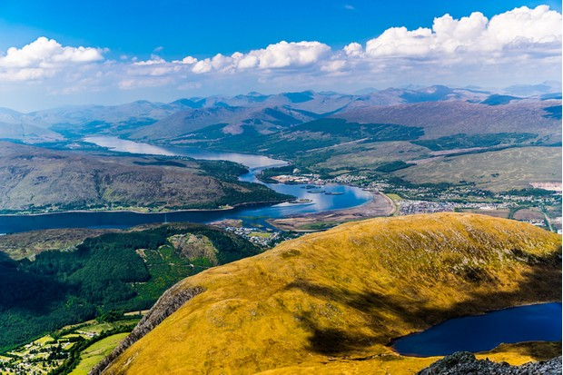 View looking west towards Loch Eil from the slopes of Ben nevis, Scotland.