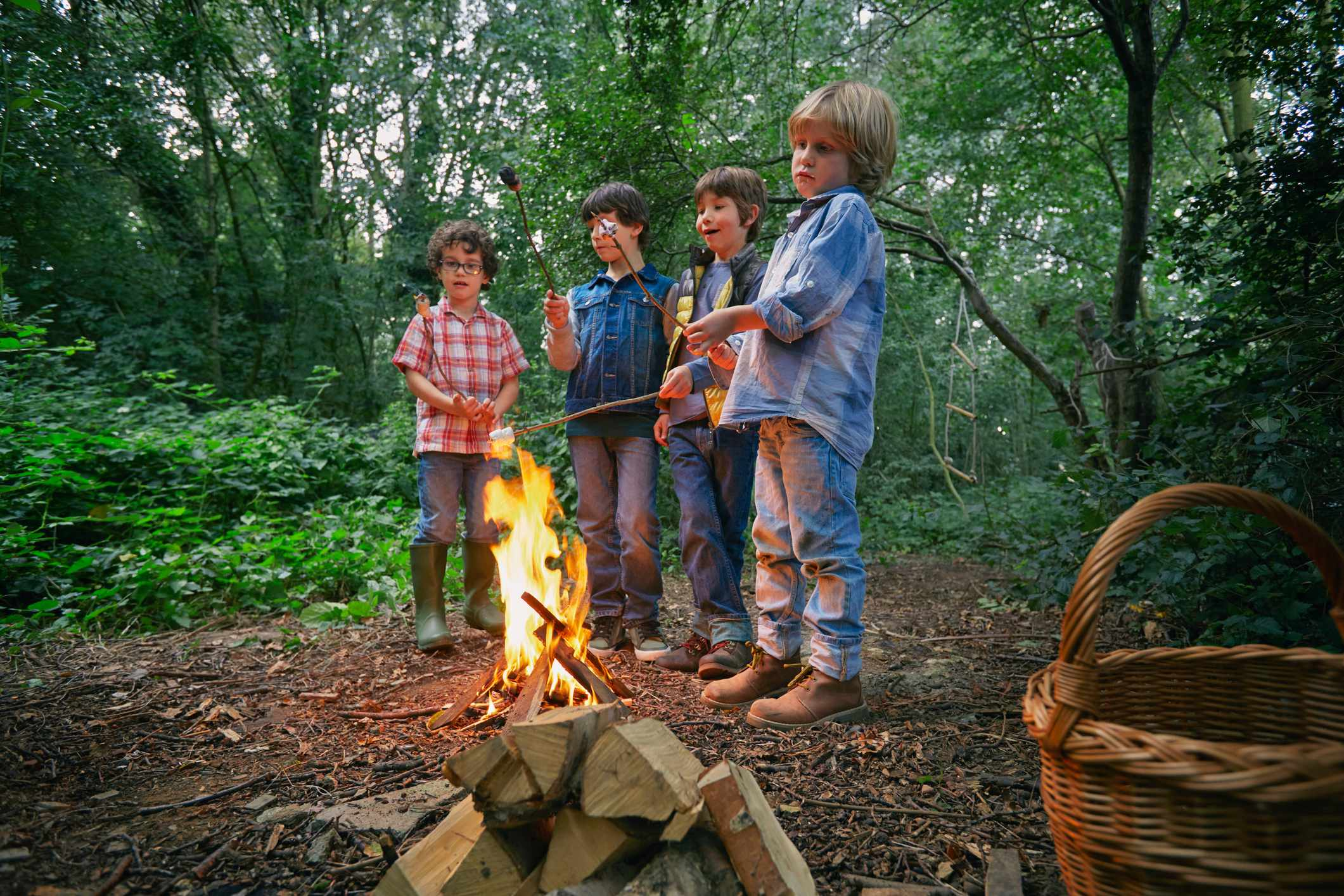 Four boys toasting marshmallows on campfire in forest