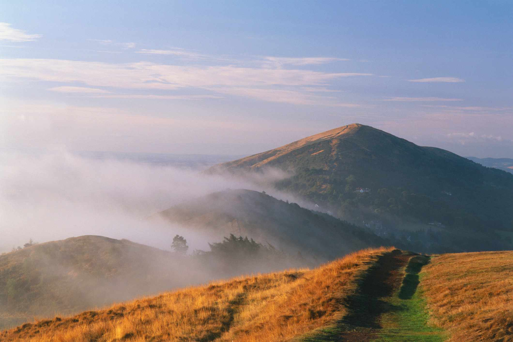 Great Britain, England, Worcestershire, The Malverns, a view of mountain range, formed of hard pre-cambrian rock.