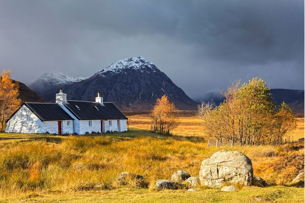 A view of Black Rock Cottage on Rannoch Moor. (Photo by: Loop Images/UIG via Getty Images)