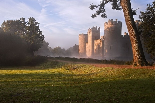 A view toward Bodiam Castle. (Photo by: Loop Images/UIG via Getty Images)