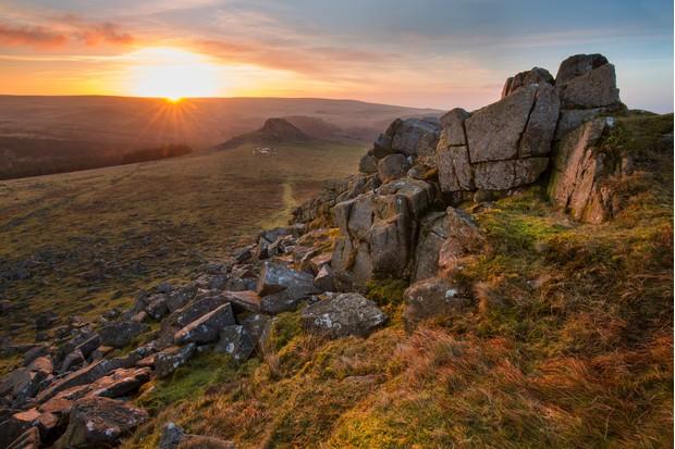 Capturing the morning light on Dartmoor tors.